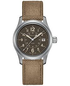 Men's Swiss Khaki Field Beige Canvas Strap Watch 38mm H68201993