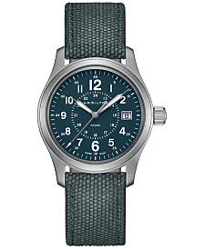mens watches macy s hamilton men s swiss khaki field blue canvas strap watch 38mm h68201943