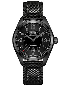 Hamilton Men's Swiss Automatic Khaki Field Black Rubber Strap Watch 42mm H70695735