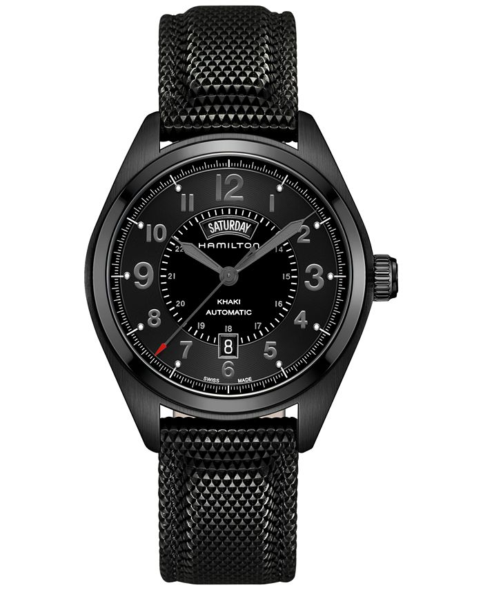 Hamilton - Men's Swiss Automatic Khaki Field Black Rubber Strap Watch 42mm H70695735