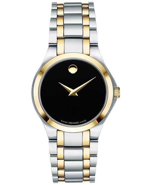 Movado Women's Swiss Collection Two-Tone PVD Stainless Steel Bracelet Watch 28mm, Created for Macy's