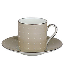 Monique Lhuillier Waterford Dinnerware, Etoile Platinum Tan Espresso Cup and Saucer