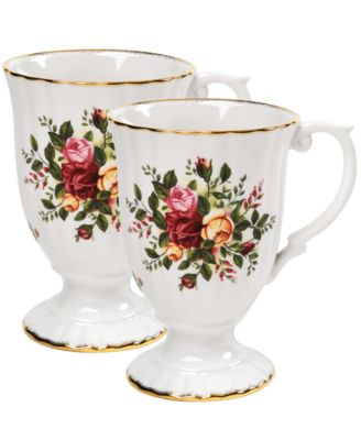 """""""Old Country Roses"""" Fluted Mugs, Set of 2"""