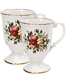 "Royal Albert ""Old Country Roses"" Fluted Mugs, Set of 2"