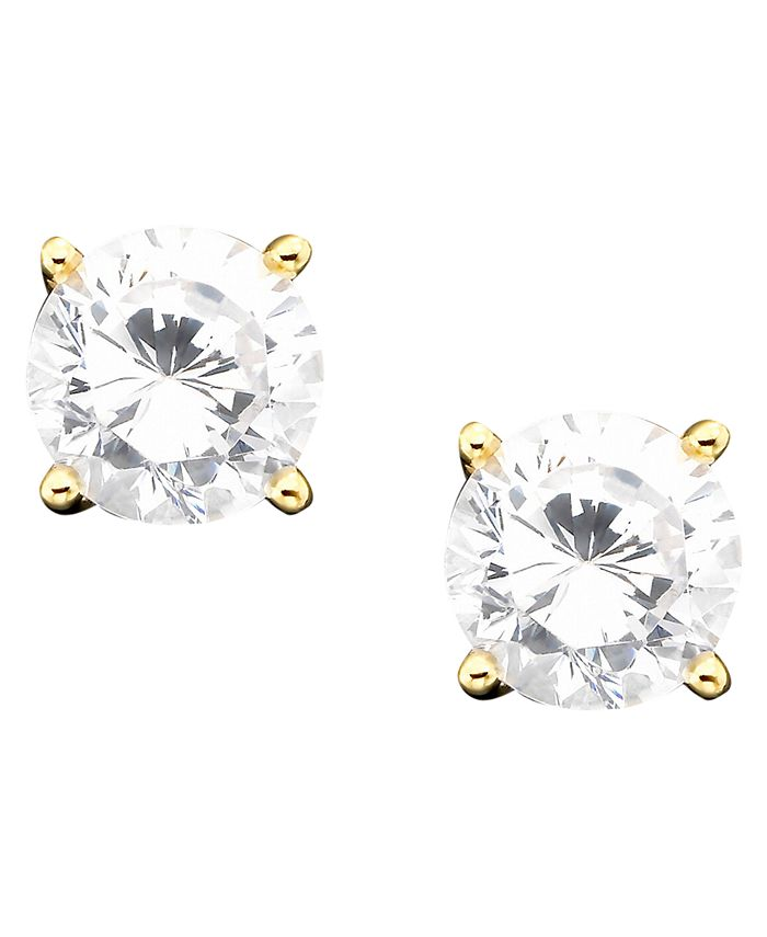 Giani Bernini - 18k Gold over Sterling Silver Cubic Zirconia Stud Earrings (1 ct. t.w.)