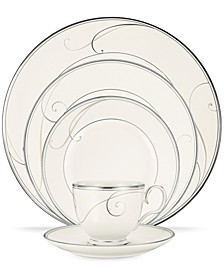 Dinnerware, Platinum Wave Round 5 Piece Place Setting