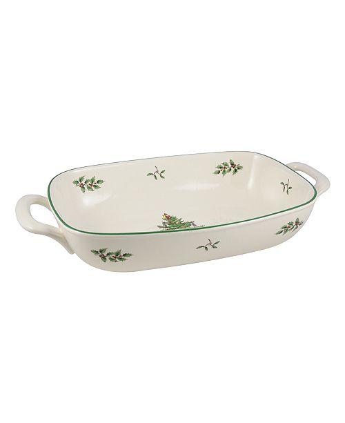 Spode Christmas Tree Serveware Handled Bread Basket
