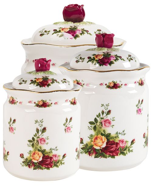 """Royal Albert """"Old Country Roses"""" Canisters, Set of 3"""