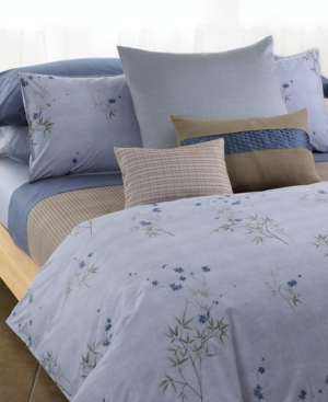 Calvin Klein Home Bamboo Flowers Corded Blocks King Coverlet Bedding