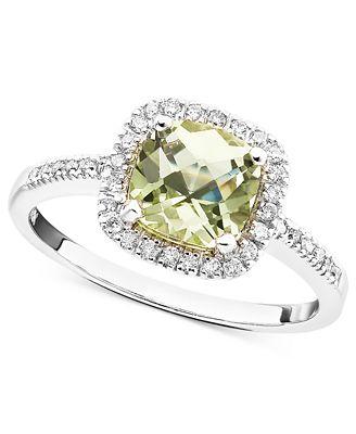 10k White Gold Ring, Green Quartz (1-1/10 ct. t.w.) and Diamond (1/5 ct. t.w.)