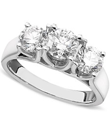 X3 Certified Three-Stone Diamond Ring in 14k White Gold (2 ct. t.w.), Created for Macy's