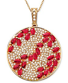 Rosa by EFFY® Ruby (3-1/3 ct. t.w.) & Diamond (9/10 ct. t.w.) Pendant in 14k Rose Gold, Created for Macy's