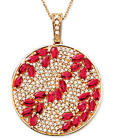 Rosa by EFFY Ruby (3-1/3 ct. t.w.) & Diamond (9/10 ct. t.w.) Pendant in 14k Rose Gold, Created for Macy's