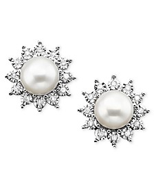 Cultured Freshwater Pearl (7mm) and Diamond (1/8 ct. t.w.) Earring in 10K White Gold