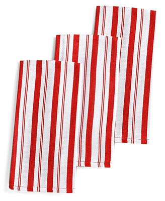 Martha Stewart Collection Set of 3 Basket Weave Red-Striped Kitchen Towels, Created for Macy's