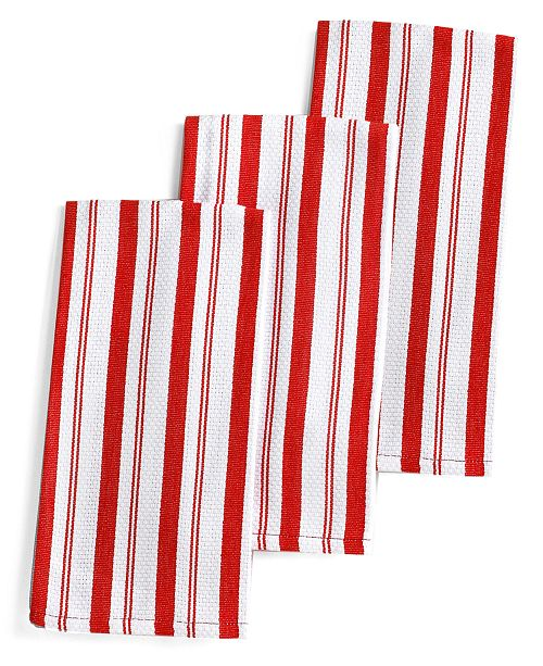 Set of 3 Basket Weave Red-Striped Kitchen Towels, Created for Macy's