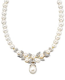 14k Gold Necklace, Cultured Freshwater Pearl and Diamond (3/8 ct. t.w.)