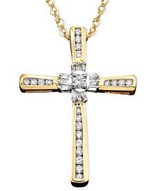 14k Gold Pendant, Diamond Cross (1/4 ct. t.w.)