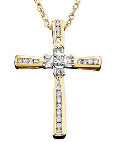 14k Gold Pendant, Diamond Cross (1/4 ct. t.w.)