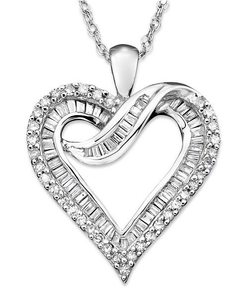 Diamond Heart Necklace in 14k White Gold or 14K Gold (1/2 ct. t.w.)
