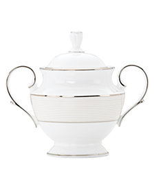 Lenox Dinnerware, Opal Innocence Stripe Covered Sugar Bowl