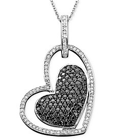Caviar by EFFY Diamond Black and White Diamond Heart Pendant (7/8 ct. t.w.) in 14k White Gold
