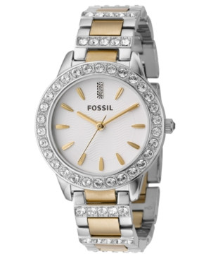 Fossil Women's Jesse Two Tone Stainless Steel Bracelet Watch 34mm ES2409