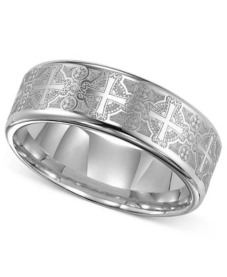 Triton Men S Tungsten Carbide Ring Comfort Fit Etched