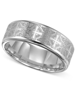 Triton Men's Tungsten Carbide Ring, Comfort Fit Etched Cross Wedding Band
