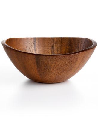 Acacia Wood Curve Individual Bowl, Created for Macy's