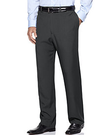 Haggar Men's E-Clo Stria Classic Fit Flat Front Hidden Expandable Dress Pants