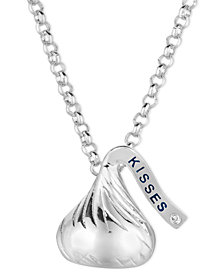 Sterling Silver Hershey's Kiss Necklace, Diamond Accent Small Flat Pendant