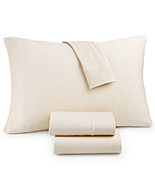 Heathered Cotton Jersey 4-Pc. Solid King Sheet Set