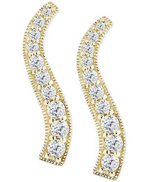 Giani Bernini Cubic Zirconia Graduated Curve Drop Earrings in 18k Gold-Plated Sterling Silver, Created for Macy's