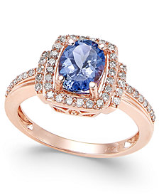 Tanzanite (1-1/8 ct. t.w.) and Diamond (1/3 ct. t.w.) Ring in 14k Rose Gold