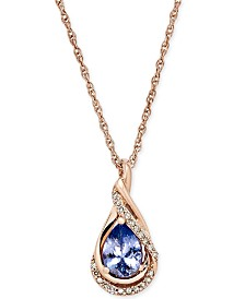 Tanzanite (5/8 ct. t.w.) and Diamond Accent Pendant Necklace in 14k Rose Gold