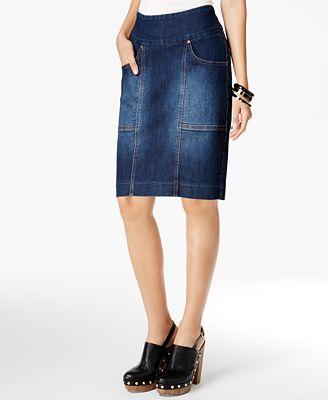JAG Janelle Pull-On Denim Pencil Skirt