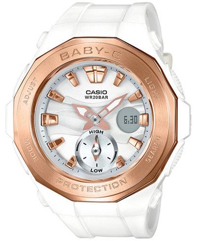 Baby-G Women's Analog-Digital White Resin Strap Watch 45x47mm BGA220-7A