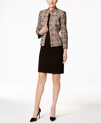 Kasper Metallic Jacquard Jacket & Crepe Sheath Dress
