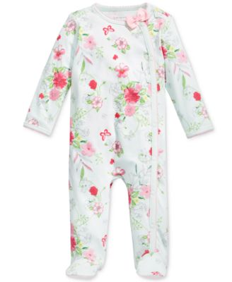 Baby Girls Floral-Print Footed Coverall, Created for Macy's