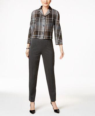 Tommy Hilfiger Cropped Plaid Jacket & Slim-Leg Pants