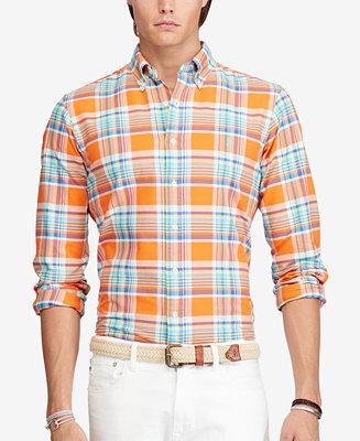 Polo ralph lauren men 39 s plaid oxford shirt casual button for Polo ralph lauren casual button down shirts