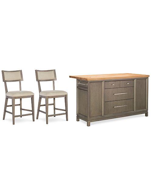 Furniture Rachael Ray Highline Home Kitchen Island 3 Pc Set