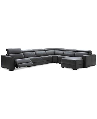 Nevio 6 Pc Leather Sectional Sofa With Chaise With 1 Power
