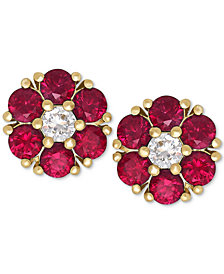 Ruby (1-1/5 ct. t.w.) and White Sapphire (1/6 ct. t.w.) Flower Stud Earrings in 14k Gold