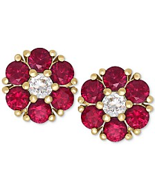 Certified Ruby (1-1/5 ct. t.w.) and White Sapphire (1/6 ct. t.w.) Flower Stud Earrings in 14k Gold