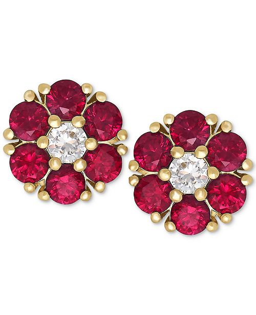 Macy's Certified Ruby (1-1/5 ct. t.w.) and White Sapphire (1/6 ct. t.w.) Flower Stud Earrings in 14k Gold