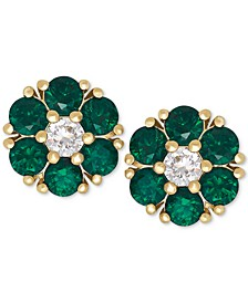 Emerald (9/10 ct. t.w.) and White Sapphire (1/6 ct. t.w.) Flower Stud Earrings in 14k Gold