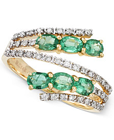RARE Featuring GEMFIELDS Emerald (7/8 ct. t.w.) and Diamond (1/4 ct. t.w.) Bypass Ring in 14k Gold
