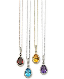 Diamond Accented Semi-Precious Pendant Necklace in 14k White, Yellow or Rose Gold